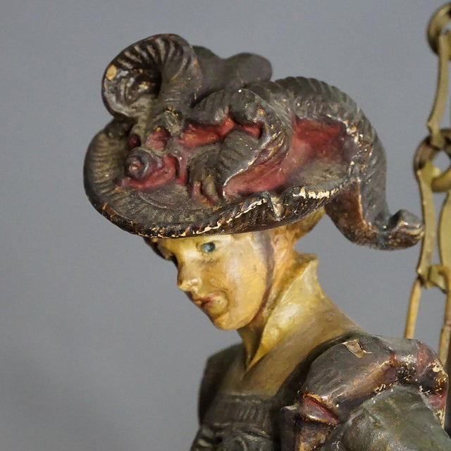 a rare antique lüsterweibchen chandelier with a plaster sculpture of a victorian lady with original virginia deer antlers...