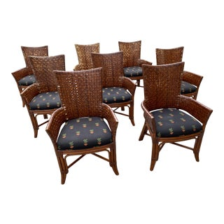 Bamboo Rattan and Woven Wingback Dining Chairs - Set of 8 For Sale