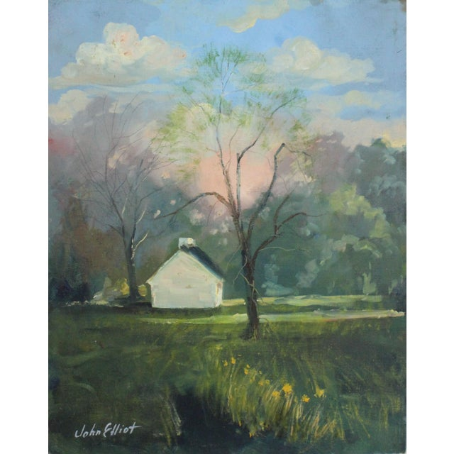"""Impressionist Oil Painting on Canvas covered art board entitled """"Kentucky Homestead"""" by listed Artist John Elliot, opa...."""