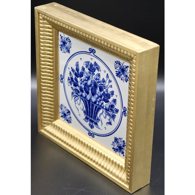 Royal Blue Mid-20th Century Dutch Delft Floral Gilt Wood Framed Tiles - a Pair For Sale - Image 8 of 13