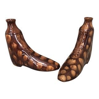 Bennington Pottery Shoe Flasks - a Pair, 19th Century For Sale