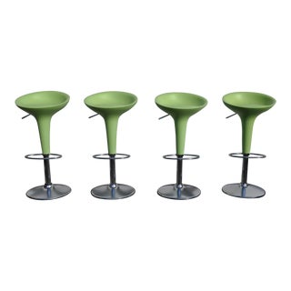 1990s Vintage Original Magis Bombo Green Bar Stools by Stefano Giovannoni - Set of 4 For Sale