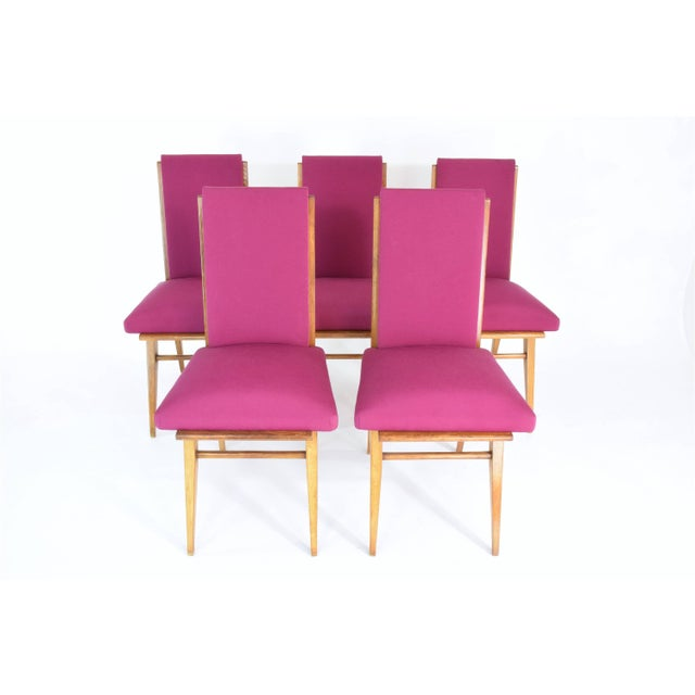 French Art Deco Dining Chairs, Set of Five, 1940s For Sale - Image 4 of 12