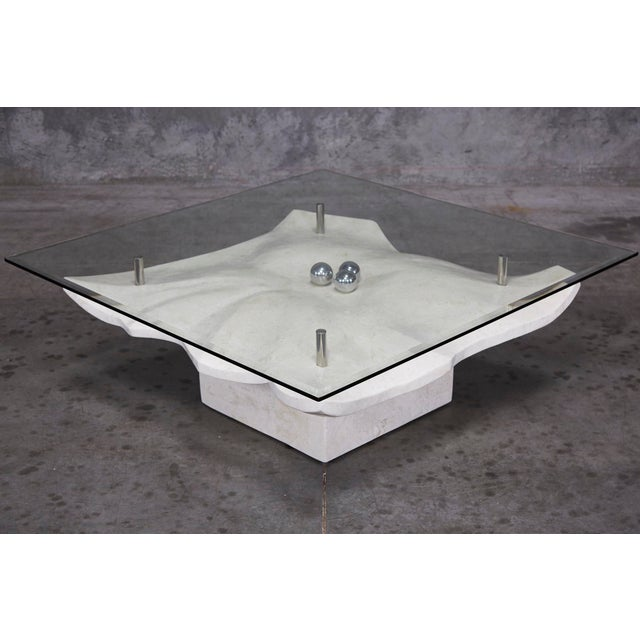"""1990s Post-Modern Tessellated Stone """"Chiseled"""" Cocktail Table For Sale In Los Angeles - Image 6 of 13"""