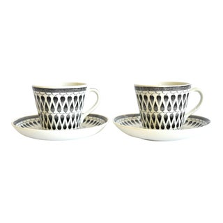 Mid-Century Scandinavian Modern Upsala-Ekeby Sweden Gefle Lillemor Cups and Saucers - a Pair For Sale