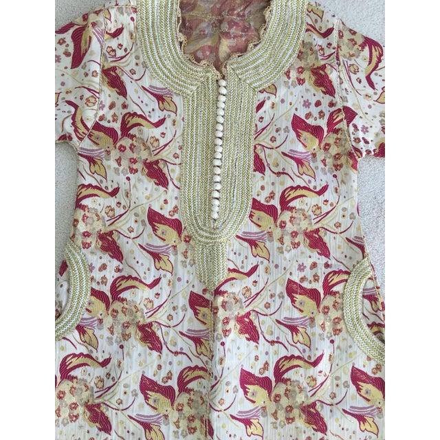 White 1970s Metallic Brocade Moroccan Caftan, Kaftan Maxi Dress For Sale - Image 8 of 10