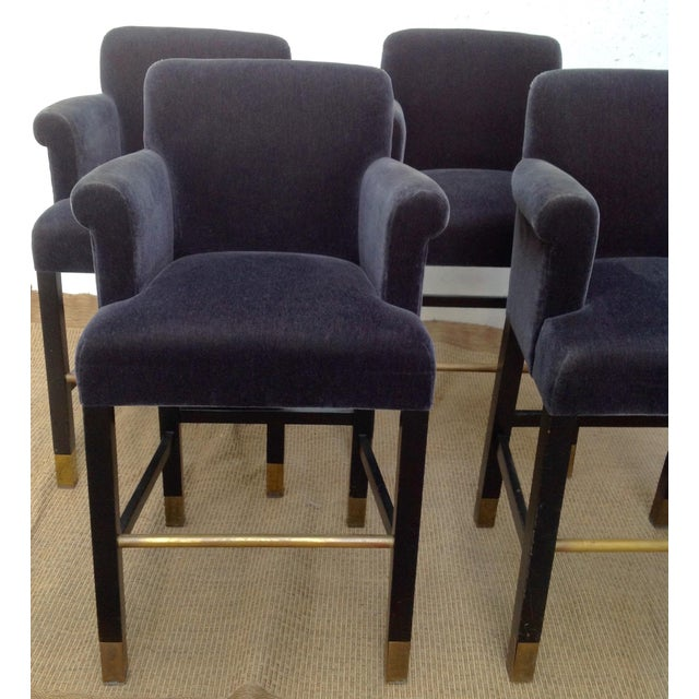 Donghia Vintage Donghia Bar Stools Slate-Blue Mohair Stools- Set of 4 For Sale - Image 4 of 11