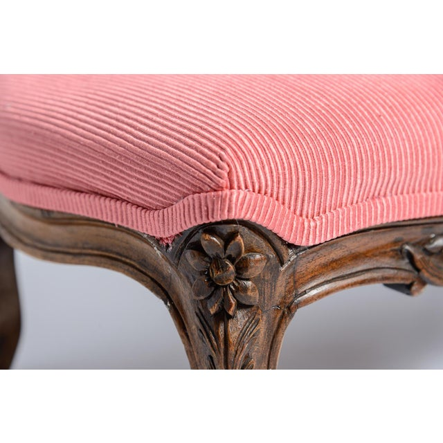 Pink French Louis XV Footstool New Coral Upholstery 19Th C. For Sale - Image 8 of 10