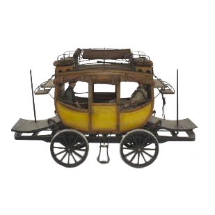 American Country style (20th Cent) painted wood scale model of DeWitt Clinton train coach For Sale