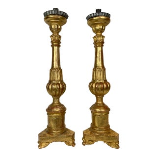 19th Century Gilt Candle Prickets - a Pair For Sale