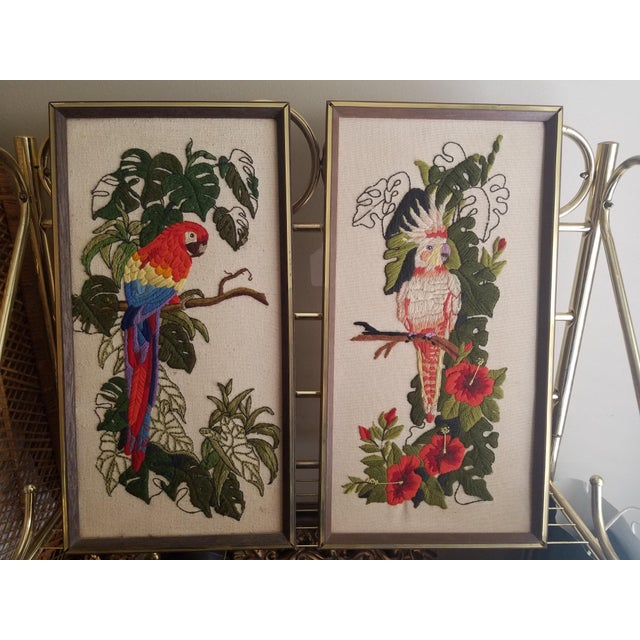 Vintage Crewel Embroidered Bird Artwork - A Pair - Image 3 of 5