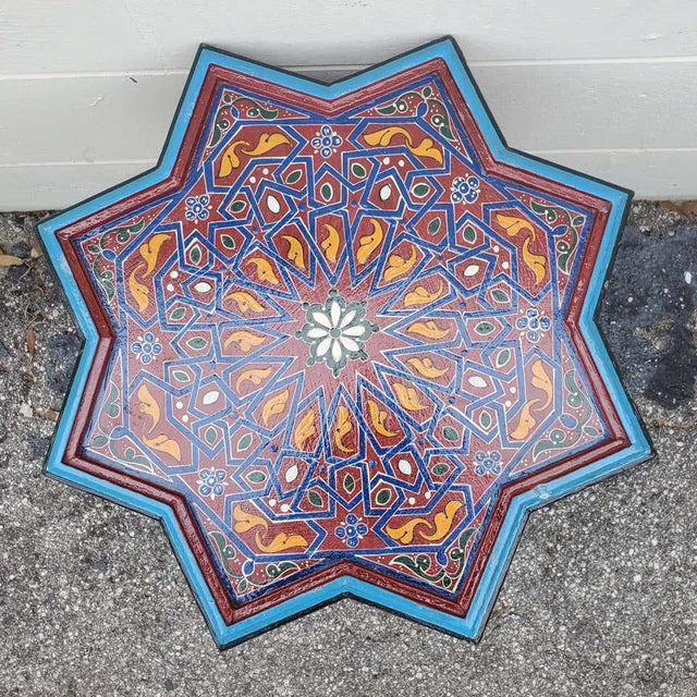 Rare find! Carved and 100% hand painted Moroccan star shape table. Small size. Made from sturdy red wood, this amazing...