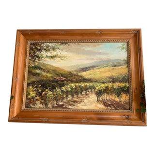 Framed Vinyard Landscape Oil Painting For Sale