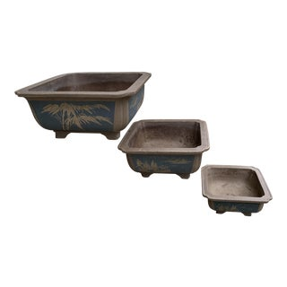 Vintage Tokoname Styled Bonsai Pots Flower Pots - Set of 3 For Sale