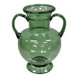 Image of Vintage Blenko Glass Mid Century Modern Green Double Handle Vessel Vase For Sale