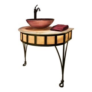 "Jonathan David by Debra May Himes, Asid ""Tiempo"" Handcrafted Iron and Under-Lit Onyx Accent Side Table For Sale"