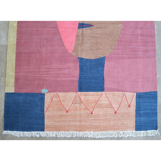 Silk Paul Klee - Clown - Inspired Silk Hand Woven Area - Wall Rug 4′4″ × 5′10″ For Sale - Image 7 of 11