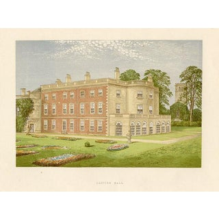 1880s English Manor Home Print, Clifton Hall For Sale