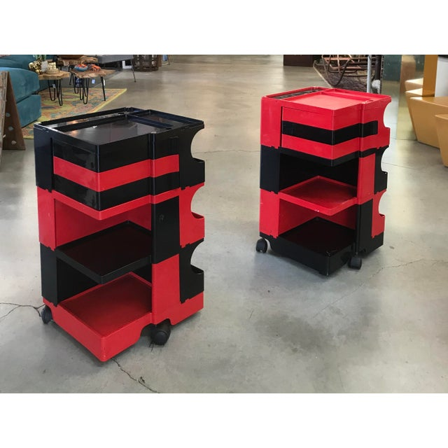 Joe Colombo Black and Red Original Vintage Joe Colombo Boby Trolley Carts -A Pair For Sale - Image 4 of 13