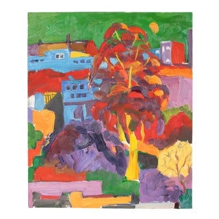 """Jack Freeman Entitled """"Green Sky"""" Primary Colored Expressionist Cityscape in Oil 2011 For Sale"""