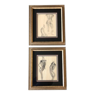 Gallery Wall Collection 2 Original Charcoal Nude Study Drawings For Sale
