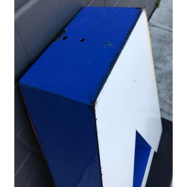 """Metal Large Vintage Blue & White Enamel Metal """"L"""" Building Signage For Sale - Image 7 of 12"""