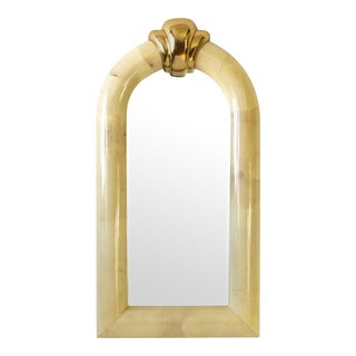 Large Arched Lacquered Goatskin and Brass Mirror For Sale