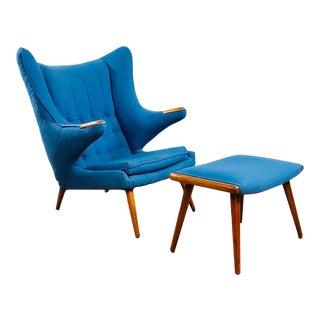 Mid Century Modern Hans Wegner Papa Bear Chair and Ottoman For Sale