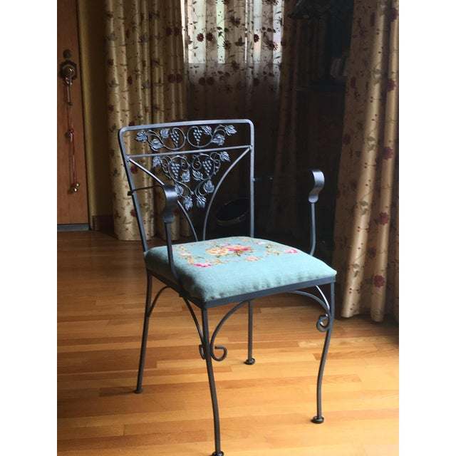 Needlepoint Cushion Wrought Iron Chair - Image 2 of 10