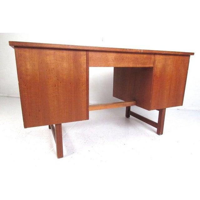 Mid 20th Century Danish Modern Teak Double Pedestal Desk For Sale - Image 5 of 11