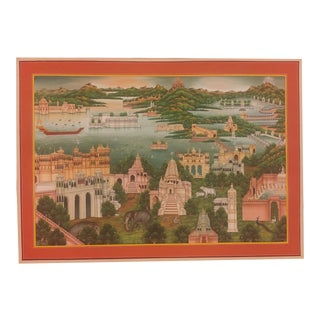 Hand Painting Landscape Old City Detailed Miniature Indian Art Work Udaipur For Sale