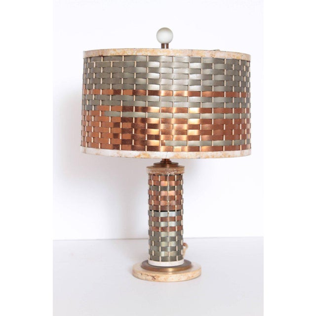 1920s Machine Age Art Deco Sandel Table Lamp, Mixed Metal, Lacquered Wood For Sale - Image 5 of 11