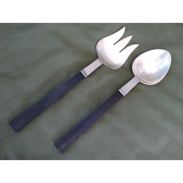 1950s Joan Fontaine's Allan Adler Silver Salad Server Set - a Pair For Sale - Image 11 of 11