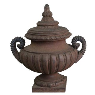 Monumental French Cast Iron Lidded Urn For Sale