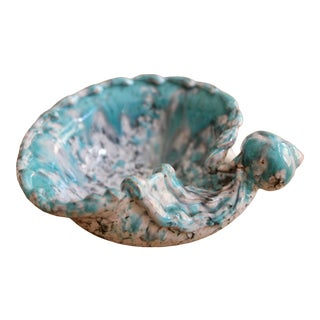 Mid Century Turquoise Blue Italian Pottery Shell Dish by Fratelli Fanciullacci For Sale