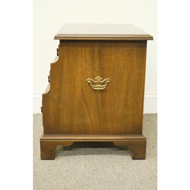 Brown 20th Century Traditional National Mount Airy Solid Mahogany Tiered 3 Drawer Accent Table For Sale - Image 8 of 13