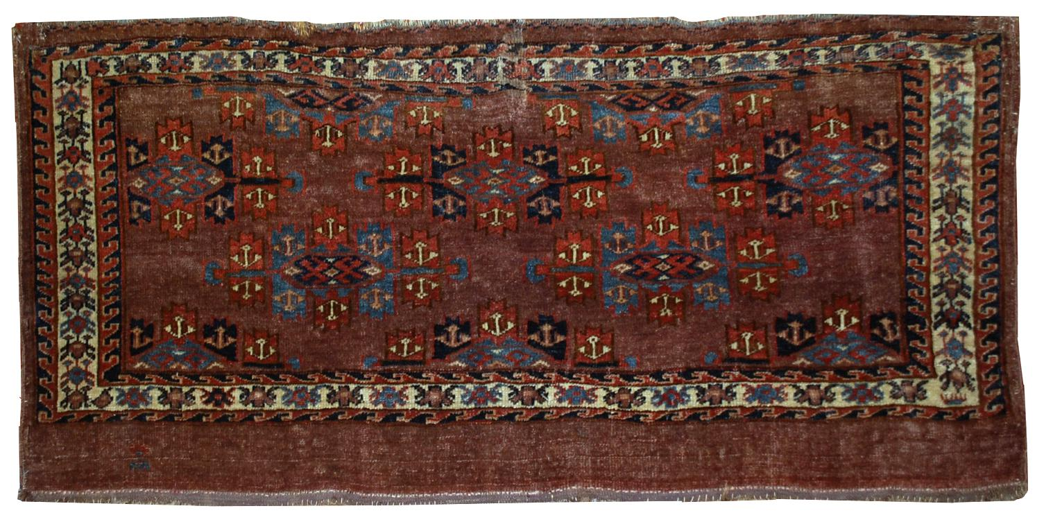 1880s Antique Collectible Turkoman Yomud Rug 1 7 215 3 7
