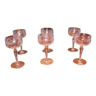 Vintage Art Nouveau Style Etched Flowers Cordial Coupe Glasses - Set of 6