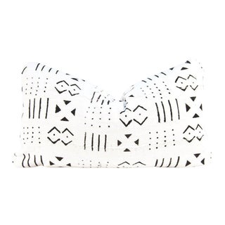 Blocked Ivory African Mudcloth Medium Lumbar Pillow