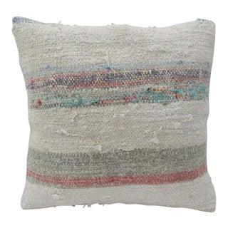 Vintage Handmade Decorative Striped Kilim Pillow Cover For Sale