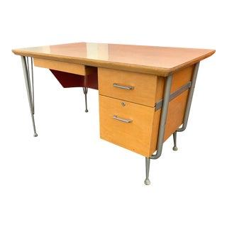 1960s Mid Century Modern Teacher's Atomic Desk For Sale