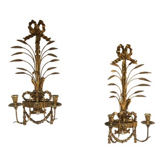 Pair Louis XVI Style Carved Giltwood 2-Arm Wall Sconces For Sale