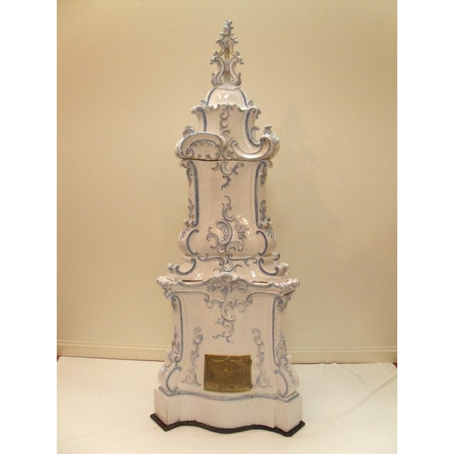 Italian Ceramic Delft Terracotta Parlor Stove For Sale - Image 13 of 13