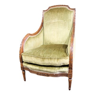 19th C Louis XVI Style Carved Walnut Bergere For Sale