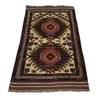 Traditional Turkish Tribal Brown and Camel Wool Kilim Rug