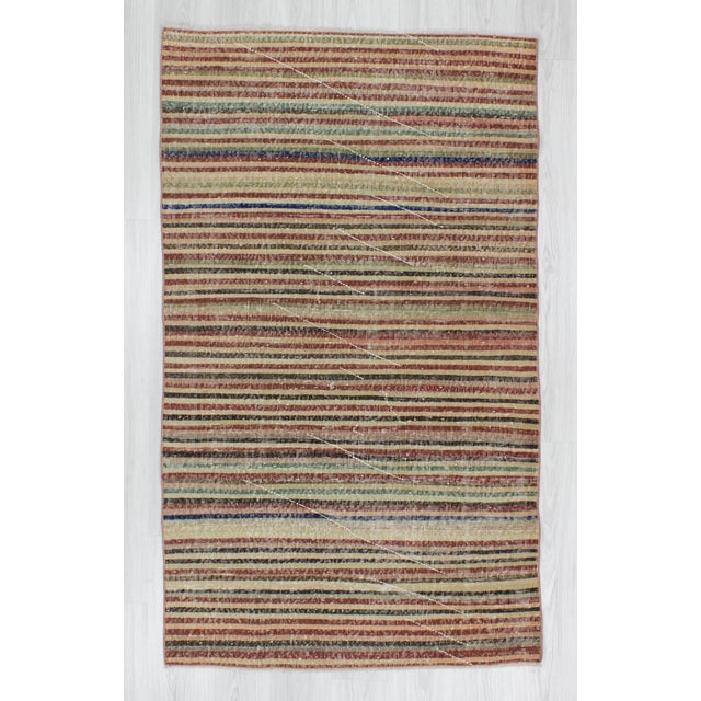 Vintage Turkish Hand-Knotted Striped Area Rug - 3′10″ × 6′7″ - Image 2 of 6