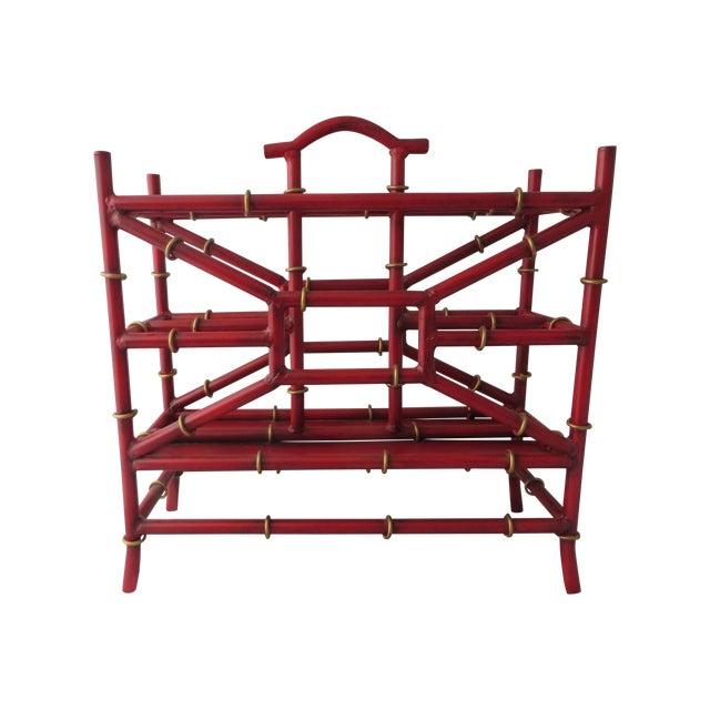 Red Metal Bamboo Magazine Rack - Image 1 of 3