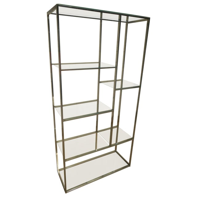 Mid-Century Milo Baughman Chrome & Glass Etagere - Image 1 of 7