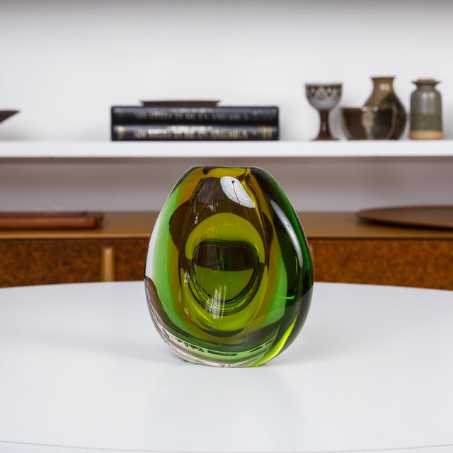 Glass Sommerso Murano Glass Vase by Flavio Poli For Sale - Image 7 of 9