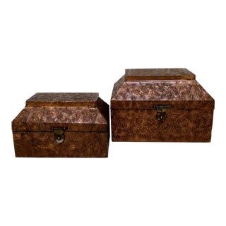 Vintage Copper & Wood Boxes - a Pair